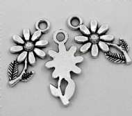10 x Antique Silver Sunflower Charm Pendants